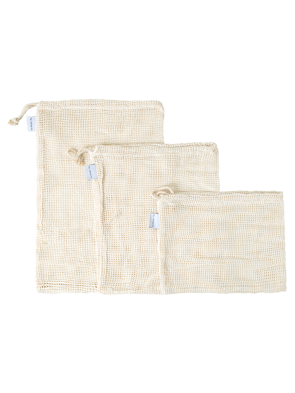 Picture of Pack of 3 Eco-Friendly Cotton Mesh Produce Bags